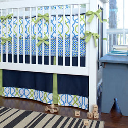 Navy Waves Crib Skirt Two-Pleat with 4-Inch Trim - Solid Navy crib skirt with insets in Solid Citron and trim in Make Waves.