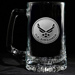 "Crystal Imagery, Inc. - Air Force Beer Mug, Military Gifts Engraved Glass Set - Engraved Air Force beer mug is a perfect military gift for Air Force retirement or special promotion. Deeply carved using our sand carving technique, each of our custom beer mugs is meticulously custom made to order making it the perfect gift for those seeking unique gift ideas for beer lovers - men and women alike. At 5.75"" high x 3"" wide, our beer mugs and glasses hold 15 oz. A set of these etched, engraved beer mugs will be the favorite gift at any special gift giving occasion. Dishwasher safe. SOLD AS A SET OF 4."