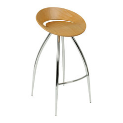 Rubin-B Bar Stool-Nat/Chrm - Climb aboard this sci-fi-inspired bar stool. Four impressive legs extend gracefully from the streamlined seating pod, allowing you to add a glimpse of the future into your present-day kitchen.