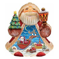 """Artistic Wood Carved Night Before Christmas Santa Claus Sculpture - Measures 5""""H x 5""""L x 4""""W and weighs 1 lb. G. DeBrekht fine art traditional, vintage style sculpted figures are delightful and imaginative. Each figurine is artistically hand-painted with detailed scenes including classic Christmas art, winter wonderlands and the true meaning of Christmas, nativity art. In the spirit of giving G.DeBrekht holiday decor makes beautiful collectible Christmas and holiday gifts to share with loved ones. Every G. DeBrekht holiday decoration is an original work of art sure to be cherished as a family tradition and treasured by future generations. Some items may have slight variations of the decoration on the decor due to the hand painted nature of the product. Decorating your home for Christmas is a special time for families. With G. DeBrekht holiday home decor and decorations you can choose your style and create a true holiday gallery of art for your family to enjoy."""