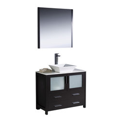 "Fresca - Torino 36"" Espresso Vanity w/ Vessel Sink Soana Brushed Nickel Faucet - Fresca is pleased to usher in a new age of customization with the introduction of its Torino line.  The frosted glass panels of the doors balance out the sleek and modern lines of Torino, making it fit perfectly in eithertown or country decor."