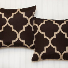 Pillow Covers 16x16 inch--(Set of 2) Quatrefoil Chocolate Brown/Cream