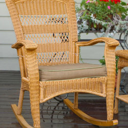 None - Tortuga Outdoor Plantation Southwest Amber Rocking Chair - The Portside Plantation Rocking Chair is the perfect rocker for a porch or indoor area. Comfort and style take center stage with this beautiful handwoven wicker rocking chair.