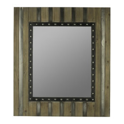 "Cooper Classics - Manhattan Brown Recycled Snack Wrap Rectangular Mirror - Light Brown Finish with Gray and Silver Metal Overlays Frame Dimensions: 30""W X 34""H X 1.5""D; Mirror Dimensions: 18.25""W X 22.25""H; Finish: Light Brown with Gray and Silver Metal Overlays; Material: Wood and Metal ; Beveled: No; Shape: Rectangular; Weight: 20; Included: Brackets, Ready to Hang Vertically or Horizontally"