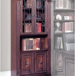 Parker House Huntington 32-Inch Glass Door Bookcase - Use the Parker House Huntington 32-in. Glass-Door Bookcase Cabinet on its own or with other pieces from the Huntington collection for a beautiful spot to store books and your favorite items. This stunning bookcase has a traditional English library style and features an antique vintage pecan finish with accent shading and highlights, hand-distressing, and a medium-sheen topcoat. The upper cabinet doors have leaded-glass door inserts with beveled diamond pattern concealing two shelves, and the lower cabinet doors have a flared design; the combination produces a stunning look. An open shelf in the center provides uninterrupted display space. Down lighting on the front beautifully accents all display items and adds ambience to the room.The Huntington bookcase cabinet is constructed of solid wood with maple veneers. The cabinet has locking bolts to connect cabinets together, and concealed plugs offer a finished end cabinet or pop out to connect cabinets together. Front levelers adjust from inside the base cabinet and allow for easy installation. Dimensions: 32.25W x 17.75D x 80.25H inches.About Parker HouseFamily-owned and -operated, Parker House Furniture is based in California and has been serving the fine furniture industry since 1946. The company's time-proven quality is an industry standard. Parker House continues its legacy with its newest line of expanding television consoles and entertainment wall systems, plasma TV stands, and accessories. Parker House takes pride in the quality of its furniture and is committed to making customer satisfaction its No. 1 priority.Delivery Notice: This item includes in-home delivery to the room of your choice, including up to two flights of steps and/or elevator.