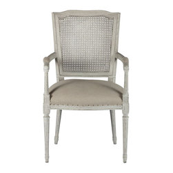 Aidan Gray - Aidan Gray Ethan Dining Arm Chair Set of 2 CH115 - Constructed from birch, each frame is carved and then hand painted in our Parker Grey which is a blend of grey and beige hues. Seat cushion is hand tied springs which delivers a firmer seat lasting much longer than your basic stuffing. The chair is finished with Dark Linen with Burlap accents on back, rusted nails hold the fabric in place. Exposed nail heads lend to a more uneven edge appearance and bumps, unevenness and roughness should be expected.