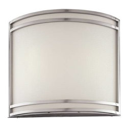 Minka Lavery - Minka Lavery 368-PL Energy Star 2 Light Wall Sconce in Brushed Nickel with Etche - 120V NPF ElectronicBulb Included: No Bulb Type: Fluorescent Collection: Energy Star Energy Star Compliant: Yes Extension: 4-1 2 Finish: Brushed Nickel Glass Shade: Etched Height: 12 Light Direction: Ambient Lighting Number of Lights: 2 Rooms: Bathroom, Bedroom, Dining Room, Family Room, Foyer, Kitchen, Living Room Sconce Type: Wall Washers Style: Contemporary Transitional Wattage: 18 Weight: 7.13 Width: 10