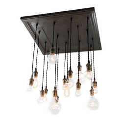 Urban Chandy - Square Salvaged Barn Tin Chandy, Black Coffee - This chandelier is the ultimate in vintage chic design. You will love the combination of antique bulbs and salvaged barn tin. The rustic mix of materials is perfect for any eclectic room in need of a strong focal point. Just imagine the instant warm glow that will fill your home.