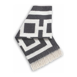 "Jonathan Adler - Jonathan Adler Nixon Charcoal Throw Blanket - Snuggle in style wrapped in this luxe throw blanket by modern design icon Jonathan Adler. Made from baby alpaca for an uber-soft hand, the fringed Nixon throw performs double duty accenting a sofa or bed with geometric flair. 60"" x 60""; Reversible pattern in charcoal grey and natural; 100% baby alpaca (the finest shearing from an adult); Dry clean only; Hand-loomed by Peruvian artisans; Sustainably produced with Aid to Artisans, a non-profit organization that connects designers in America with artisans in developing countries to promote fair trade"