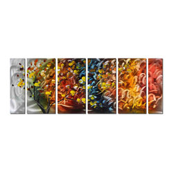 Pure Art - Season of Change Tree Wall Art Set of 6 - The bold colors of fall foliage are presented in a somewhat abstract fashion in this contemporary metal wall art. The tree's trunk and branches seem to bend with the wind and boldly colored leaves of bright yellow, red, orange and sienna cling to the branches. An abstract swirl of autumn colors is present in the background.Made with top grade aluminum material and handcrafted with the use of special colors, it is a very appealing piece that sticks out with its genuine glow. Easy to hang and clean.