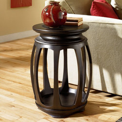 """Hammary - Chow Round End Table in Rub Through Black Finish - """"Introducting Chow, an occasional table collection with the style, function and class needed to take your living room to a whole new level. This Asian inspired collection features elements of Chinese/Japanese culture throughout its design. From geometric screen details, dramatic curved legs to the dark, modern Black Rubbed finish itself this collection exudes contemporary living."""