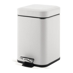Gedy - Square White Faux Leather Waste Bin With Pedal - Unique, stylish square waste basket with pedal. Contemporary waste bin is made out of white colored faux leather and stainless steel. Square bathroom step wastebasket. Made in Italy by Gedy. Square waste basket with pedal. Contemporary and stylish. Made out of white colored faux leather and stainless steel. Square bathroom step waste can. From the Gedy Argenta Collection. The front of the pedal to rear hitch is 8.46 inches.
