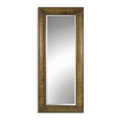 Uttermost - Shayna Embossed Copper Panel Mirror 29x69 - When you're looking for a mirror to fill a larger space or create a dramitic point of interest, consider the Shayna. This mirror is larger in size and designed to be not only useful but beautiful. The copper panels create a beautiful border that surrounds this elegant mirror. Embossed copper is distressed in a light brown and then washed with a sage green glaze to give the whole mirror a unique patina. 1-1/4 inch beveled mirror is included. At 69 inches in height, the Shayna mirror is a good option as a standing leaner mirror as well.