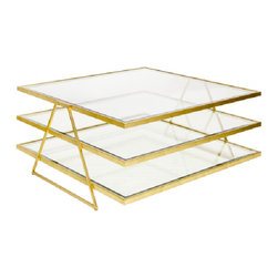 3-Tier Gold Leafed Jonathan Coffee Table - 3-Tier Gold Leafed Jonathan Coffee Table Beveled Glass.
