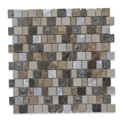 GlassTileStore - Sample-Lotus Sundial Glass and Stone Tile Sample - Sample-Lotus Sundial Glass and Stone Tile Sample   Samples are intended for color comparison purposes, not installation purposes.    -Glass Tiles -