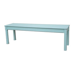 EuroLux Home - New Queen Bench Blue Painted Hardwood - Product Details