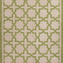 Jaipur Rugs - Moroccan Pattern Polyester Green/Taupe Indoor-Outdoor Area Rug ( 2x3 ) - These Catalina rugs will add a pop to any outdoor space with its rich inspiration from Moroccan trellis and tile patterns.