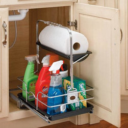 Home Decorators Collection - Rev-A-Shelf Removable Under Sink Caddy - Easily store and carry all your cleaning items with our Rev-A-Shelf Removable Under Sink Caddy. Slide it out along its runners for easy access, or remove the caddy completely and take it anywhere. The carrying handle slides back and forth to move out of the way of your plumbing while in storage, and the leakproof trays will keep chemicals from dripping into your sink cabinet or onto your floor. 1 paper towel roll tray and 1 large lower tray with rails. Caddy is completely removable from runners. Leakproof trays. Limited lifetime warranty.