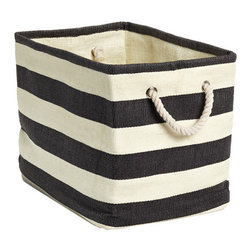 Rugby Stripe Bins - These storage bins are perfect for throwing in blankets, kids' toys and any catch-all items. The nautical quality comes through in the stripes and twisted rope handles.