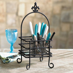 Silverware Caddy with a Fleur de Lis Design - This stylish iron flatware caddy with a fleur-de-lis crest is perfect for carrying flatware outside for entertaining or for displaying  flatware for a buffet table.   Add a ribbon to the handle for an elegant touch.