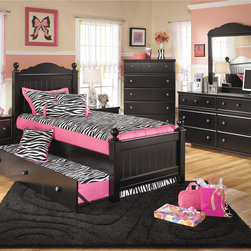 Signature Design by Ashley - Signature Design by Ashley Jaidyn Black Poster Bed Set with Trundle - Add a contemporary look to your kids room with the Jaidyn poster bed set. This bed features a chic black finish with a mix of modern and traditional architecture.