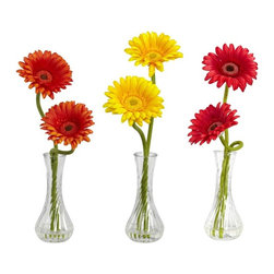 Gerber Daisy with Bud Vase (Set of 3) - Take one look at this beautiful Gerber daisy, and you can't help but bask in the perfection of Mother Nature. It's not just the perfect green stems climbing high as they (sometimes) curve and twist, it's not the delicate petals on the bloom, nor is it the exquisite flower center ' it's the way all of these things work together. Just look at it again' nature is perfect indeed. Comes in a bulb vase with liquid illusion. Height= 13 in x Width= 3.5 in x Depth= 5 in
