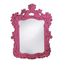 Howard Elliott - Turner Hot Pink Mirror - This large rectangular mirror has an ornate frame detailed with a feathery scrolling design that is finished in a glossy hot pink lacquer.
