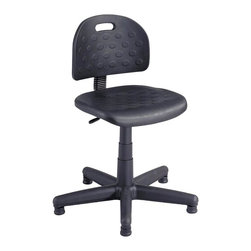 Safco - Soft Tough Economy Task Chair - Economy Soft Tough task chair features an adjustable height stationary base and all black framing. Seat and back are self-skinned polyethylene, which adds ultra-durability for any work environment. This style is rugged enough for industrial settings, warehouses and any high-traffic exposed environment. Pneumatic seat height adjustment. Back height adjustment. Seat depth adjustment. 360 degree swivel. Steel-spring back with manual adjustment. Welded steel 5-star base with telescoping polypropylene cover and floor glides. Paddle lever controls 10 degree seat tilt and 22 degree backrest tilt. Ergo knob controls 5 in. backrest height adjustment. Meets ANSI/BIFMA Industry standards. Seat and back made from solid molded self-skinned polyurethane. Maximum Weight Capacity: 250 lbs.. Seat Size: 18 in. W x 16.5 in. D. Back Size: 17 in. W x 12 in. H. Seat Height: 17 to 22 in.. Overall: 25 in. Diameter x 28.5 - 36.5 in. H (23 lbs.). Assembly InstructionGet tough durability with soft comfort with Soft Tough. Construct your inspection, assembly and receiving areas with the long lasting comfort they need and deserve. Make Soft Tough available in your warehouse, in an auto garage, storage rooms, in your production area or at a workbench. No matter where, comfort and support will be there!