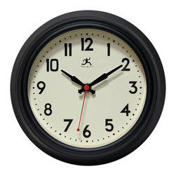 Infinity Instruments, Ltd. - Infinity Instruments Cuccina Silent Wall Clock, Black - Infinity Instruments Cuccina is a deep steel case wall clock that will work perfectly in your home or at your office. This stylish wall clock comes with a silent sweep second hand that is work out great for when you need complete silence.