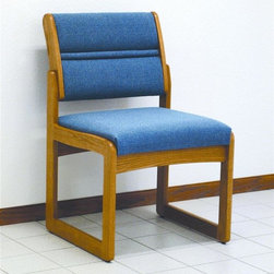 Wooden Mallet - Armless Sled Base Guest Chair in Medium Oak F - Finish: Vinyl WineComplete your professional office space with this versatile armless chair. It's made with solid oak for long-lasting durability. Also includes padded seat & slanted back for superior support. Plus, there are many décor-enhancing upholstery fabric colors to choose from. Pictured in Powder Blue fabric. 1 In. thick solid Oak frame. Extra thick seat and back cushions. Tasteful contemporary styling coordinates with any décor. Minimal assembly required. Built with unique slide brackets, no tools are required. Made in the USA. Complies with California TB 117 fire code. 1-Year limited warranty. Seat: 16.5 in. D x 19.5 in. W x 14.5 in. H . Weight capacity: 400 lbs.. Total height: 19 in.Stylish, economical, and comfortable, Wooden Mallet's Dakota Wave Valley series armless chair is built to last. We've combined handsome solid oak with deep, plush upholstery, to create office furniture that presents a warm welcome to your clients and guests. Choose from a variety of wood colors and upholstery options to compliment your décor or contact us to learn about supplying your own fabric for a custom chair. Choose this chair as part of our complete Dakota Wave collection of coordinating lobby essentials.