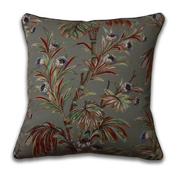 Mary Jane McCarty - Indienne Pillow, Slate, With Insert - The pillow cover is made from The Mary Jane McCarty Studio collection of fabrics. The fabrics have been  re- created from 19th century document textiles . The pillow is backed with a coordinating natural Belgian linen and features an envelope closure. Please allow 2 to 3 weeks for delivery as pillows are made to order. Can be purchased as cover only or with insert.