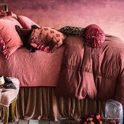 "Bella Notte - Bella Notte Duvet Cover Celeste Jacquard - Bella Notte offers luxurious, eco-friendly linens and decor in custom-dyed colors and irresistible textures. The Celeste duvet cover boasts a beautiful floral jacquard with vintage European flair for a beautiful bedroom accent. Available in several rich shades, this lovely bed linen is finished with 2.5"" of gorgeous charmuese ruching on its seams and a button closure. Each order is custom made in the USA and considered a final sale. Made from 60% hemp/40% silk. Machine wash. Available in two sizes. Insert not included. Queen: 90""W x 94""H. King: 108""W x 94""H."