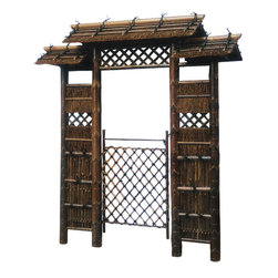 Oriental Furniture - 7 ft. Japanese Style Zen Garden Gate - Elaborate Japanese style garden gate combining wood, natural fiber, and bamboo. Bamboo-lined thatched roofs, open latticework, and bamboo panels house a rustic criss-cross swinging gate. Hand-crafted Zen garden arch and gate provides a traditional and beautiful entryway to your yard or Japanese style Zen garden. Professional installation recommended.