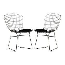 Bertoia-Style Side Chairs With Black Cushions - Every design aficionado will want the Bertoia wire chair. Its simple yet chic design adds a touch of minimalism. I would put one in a home office decorated in black and white for a sleek and inspiring look — because that's what the Bertoia chair is all about.