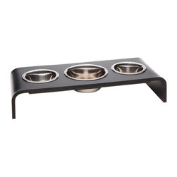 """Trendy Pet - Triple Bowl Raised Feeder For A Dog Or Cat, Black, 6"""" - Do you have more than one pet? This feeder is the perfect answer for you."""