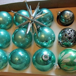 Aqua Ornaments, Sputnik Ornament, Vintage Aqua Ornaments by Christmas in Iowa - Buy vintage ornaments when you can. Etsy and eBay have the most and the best. Of course, check out yard sales and garage sales too.