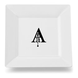 Caroline's Treasures - Letter A Initial Monogram Modern Square Ceramic Platter or Plate CJ1056-ASP115 - Letter A Initial Monogram Modern Square Ceramic Platter or Plate CJ1056-ASP115 Heavy Square Ceramic Plate 11 1/2 inches. LEAD FREE, dishwasher and microwave safe. The plate has been refired over 1600 degrees and the artwork will not fade or crack.