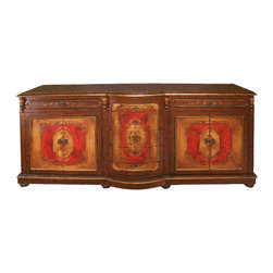 King Lima Sideboard, Fresco Brown Distressed with Fresco Red and Scrolls - King Lima Sideboard, Fresco Brown Distressed with Fresco Red and Scrolls