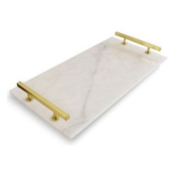 White Carrara Marble Serving Tray with Brass Gold Handles - Use as a beautiful piece of serveware or put on your coffee table as a decorative accent.