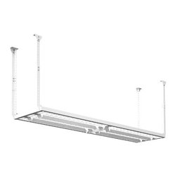 """HyLoft - HyLoft 96"""" x 24"""" Ceiling Storage Rack - HyLoft ceiling storage units are great for the garage, basement, attic, closet, office or any other room in need of storage space. These patented units adjust to accommodate any ceiling joist configuration and can be mounted to sloped ceilings. HyLoft ceiling storage units are ideal for storing holiday decorations, luggage, coolers, sporting goods and other large, bulky items since the downrods adjust in height."""