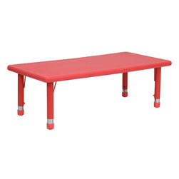 Flash Furniture - Flash Furniture 24 x 48 Height Adjustable Rectangular Plastic Activity Table - Kids activity tables are excellent for early childhood development. The primary colors make learning and play time exciting when several colors are arranged in the classroom. This durable table features a plastic top with steel welding underneath along with adjustable steel legs that is sure to last throughout the years. [YU-YCX-001-2-RECT-TBL-RED-GG]