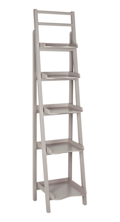 Safavieh - Safavieh Asher 71 Inch Leaning Etagere in Grey - It's a tall order. But the Asher Leaning etagere has enough backbone to get the job done. Crafted with pine wood in a beautiful grey painted finish, its multiple shelves and chic, casual style are perfect for displaying books, magazines, and all of life's modern accessories in the study, kitchen, or living room. What's included: Etagere (1).
