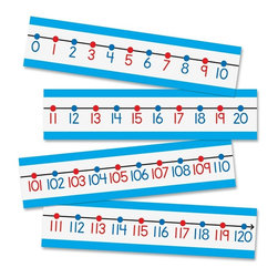 Carson-Dellosa - Carson-Dellosa Number Line Bulletin Board Set - 4 x 6 - Red, Black, Blue - Bulletin board set includes a colorful number line to help students learn to count and other math concepts. Between thick top and bottom borders, the large numbers alternate in color from blue to red. The color of the number matches the corresponding dot on the black number line.