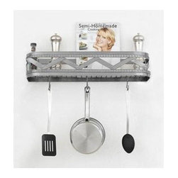 Hi-Lite MFG - Sonoma 24 in. Wall Rack in Satin Steel Finish - Includes four pot rack hooks. Accessories not included. Made from steel. 24 in. L x 5 in. HHi-Lite achieved success through attention to detail and stubbornness to only manufacturer the highest quality product. Hi-Lite has built its reputation as a premier lighting manufacturer by using only the finest raw materials, inspirational designs, and unparalleled service. This allows us great flexibility with our designs as well as offering you the unique ability to have your custom designs brought to Light.
