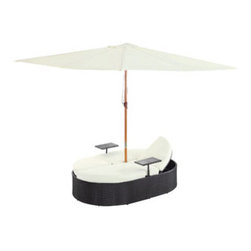 "LexMod - Nagoya Dual Outdoor Patio Chaise in Espresso White - Nagoya Dual Outdoor Patio Chaise in Espresso White - Fragrant breezes waft gently by as you recline on the comfortable Nagoya outdoor set. Grace surrounds you while the easily folding umbrella provides shade from the sun. With two facing chaise lounges, communication is encouraged whilst in the midst of relaxation. Nagoya comes fully equipped with two height adjustable recliners, two beverage stands and a sun shade. The base is made of UV resistant rattan, a powder-coated aluminum frame and all-weather conditions. Nagoya is perfect for cafes, restaurants, patios, pool areas, hotels, resorts and other outdoor spaces. Set Includes: One - Nagoya Outdoor Patio Dual Chaise Lounge One - Nagoya Outdoor Patio Umbrealla Modern Outdoor Dual Lounges, Synthetic Rattan Weave, Machine Washable Cushion Covers, Powder Coated Aluminum Frame, Water & UV Resistant, Ships Pre-Assembled Overall Product Dimensions: 105.5""L x 105.5""W x 13.5""H Daybed Dimensions: 82""L x 54.5""W x 13.5""H Umbrella Diameter: 105.5""L x 105.5""W Seat Height: 13.5""H - Mid Century Modern Furniture."