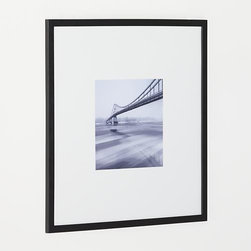 Matte Black 11x11 Wall Frame - Classic black wood and extra-wide white mat frames a single photo in a modern, gallery-style presentation.
