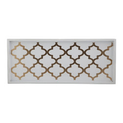 Belle & June - Arabesque Coffee/Cream Cocktail Tray - Utilitarian never look this good! Chic enough to serve your guests appetizers and drinks, this tray also can serve in your bathroom to keep items organized or in your dining area to display beautiful decanters and stemware.