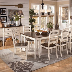 "Ashley Whitesburg Dining Room Collection - With the warm two-tone look of the cottage white and burnished brown finishes beautifully accenting the stylish cottage design, the ""Whitesburg"" Dining Collection creates an inviting cottage retreat within the décor of any dining room."