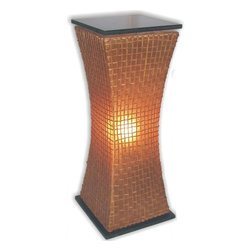 Jeffan International - Modern Curves Large Pedestal Lamp w Black Top & Base - Easily add architectural interest and accent lighting to any decor with this contemporary curved pedestal lamp, featuring a black hardwood top and base and a rattan and fiberglass shade. Designed to add fluidity and movement to virtually any design style, the lamp is finished in a warm amber. Bulb not included. Requires one 40/60 watt bulb. Unique lighting for great ambiance. Recognized by HGTV for its innovative design. Frame decorated with square grid pattern. Finished with black hardwood tops and base. Used in traditional or transitional spaces. 7 ft. electrical cord with on/off switch. Made from fiberglass and rattan. Made in Indonesia. No assembly required. 15 in. L x 15 in. W x 39 in. H (20 lbs.)Made from a combination of sturdy resin and wicker. Creates a soothing mood in any room.