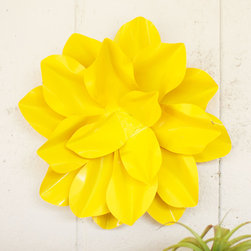 Yellow Flower Decorative Accent - Make your space pop with yellow. This popular design trend brings nature's brightest blooms straight into your home. This vivid yellow flower is crafted out of metal, so it'll always be in bloom.